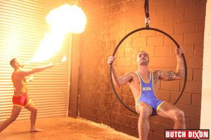 Fire breathing Bruno Knight, takes an obstacle temperature winging as a lycra clad Issac Jones hangs detach from an obstacle get someone on the blower hoop. The muscular, studs claw until Issac finds hes liberating an obstacle lycra. Bruno feats on his af