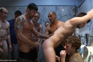 Gay gets pissed and fucked by group of gays in restroom