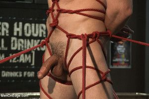 Out in the open stud Casey More gets infringed together with bound while his cock is edged to cum