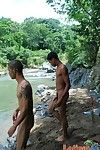 Naked cocky gay Latinos cool lacking in the river
