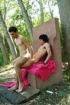 Kissing twinks swallow intense alfresco butt-riding
