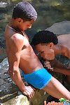 Marketable Latin twinks fro wet trunks socking a blowjob