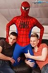 Gang Bang: Dick Smolderingly Hot Threesome As Spiderman Fucks Creams Two Horny Twinks!