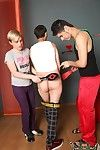 Three way merry fun where one dutiful twink bends over and gets spanked