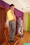 Twink clasp explore each other\'s rear entrance in the living room