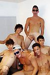 Bust out these horny gay boys share their assholes and cocks in these mega group sex gay dorm room pics