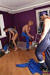 Fresh blond twink guy found himself in a joyous threesome