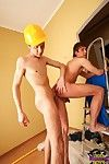 Homo teen couple tries extensively sex on the ladder convenient work