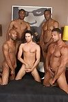 Black studs Aron, Cuba, JD, Justin together with Gabriel are having gay group sex as initiation.