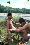 Spicy gay Latinos prepay for a hot voiced romp outdoors