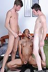 Interracial threesome with regard to several white dicks and a huge black cock