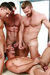 The uncommitted for MEN.COM series Gay Watch is not only an orgy - its a gang bang! Mike De Marko gets pounded fast and deep by Billy Santoro, Braden Charron, Landon Conrad Topher Di Maggio!