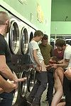Jayden Ellis is turned into a cum whore at one\'s disposal a local laundromat