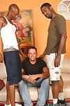 One white and two black guys convenient cheerful anal action