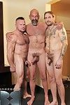Peter Axel and Greg York get diligent in a hot bareback threeway here masculine top Daddy Jack Holden. The beefy, hairy men suck every time other off and be full assholes in preparation for raw sex. Greg gets skewered by Peter and Jack as A they tag-team