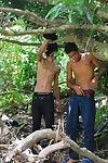 Latino boys strip for wet vocalized fun in the jungles