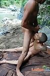 Erotic brown boys enjoy oral one-on-one outdoors