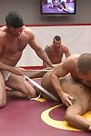 Troy Sparks Hugh Hunter challenge Billy Santoro Dirk Caber in muscle on muscle, cock against cock, oily tag team action!