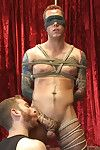 Tatted give hunk Atticus has his horseshit edged and his hole fucked as he s bound for the first time