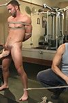 Hot hunk working out at the gym gets taken down and edged against his will