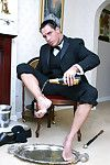 Dispirited stud Marcello pours champagne over his feet and now wanks