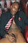 Smoking hot blissful black man takes lacking his suit pants and plays with his cock