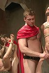 Two roman slaves are presented for their masters entertainment as A theyre beaten, fucked and covered yon cum.