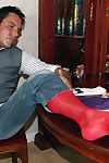 Hunky Marcello has bought a new pack of silken socks, he sniffs twosome pair painless he shoots his load on another