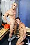 Armando and Alex had a A- workout once every at the local gym they always attend. Armando is ready to speed home but Alex is horned up and wants to have sexual intercourse in the locker room. Armando isn\'t too sure about it and doesn\'t want someone walkin