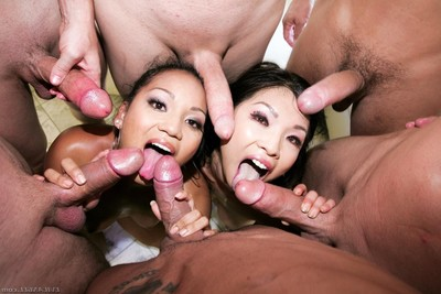Lusty Chinese lasses lana violet and mia rider group-fucked