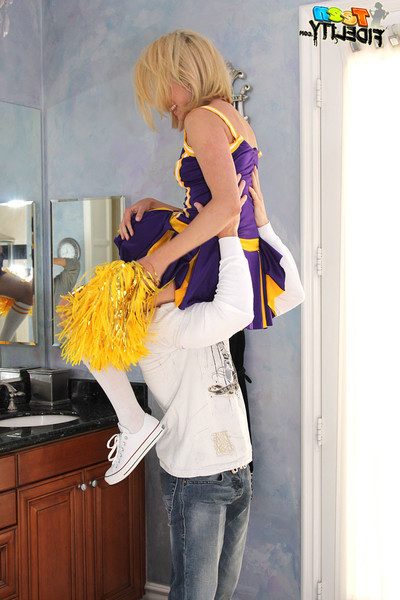 Lia lor getting screwed during in her cheerleader uniform
