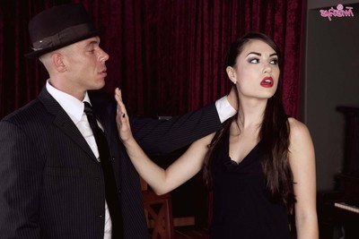 Lean sasha grey takes off her ebony clothing and accepts dicked