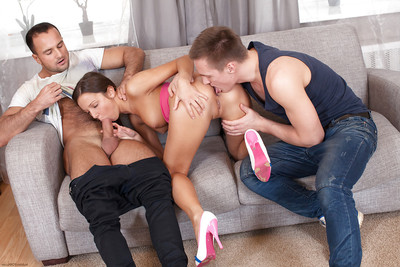 European youthful Foxy Di accepts spit roasted and cock juice discharged by two males