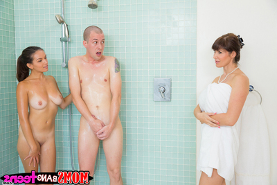 Milf Eva Karera and infant Shae Summers take shower-room with one stud