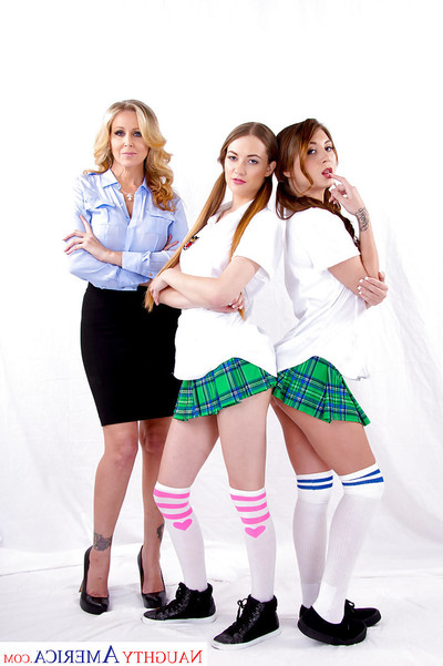 MILF Julia Ann has intercourse nasty schoolgirls Samantha Hayes and JoJo Play with tongue