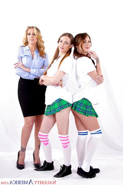 MILF Julia Ann has intercourse nasty schoolgirls Samantha Hayes and JoJo Play with tongue