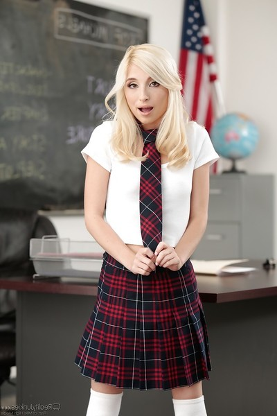 Platinum golden-haired schoolgirl Piper Perri exposing bald juvenile pornstar cage of love