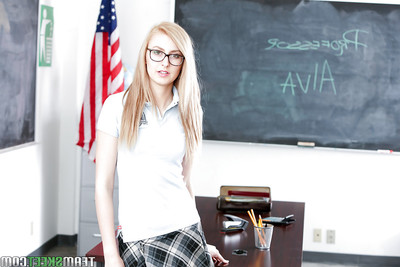 Nerdy fairy-haired schoolgirl Alexa Grace flashing strings beneath skirt