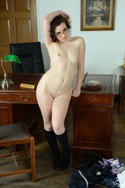 Fair-skinned schoolgirl in glasses Victoria Porter look as if exquisite