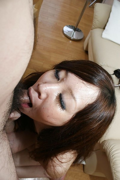 Chinese youthful Rie Noguchi gives head and benefits from her  uterus cocked up