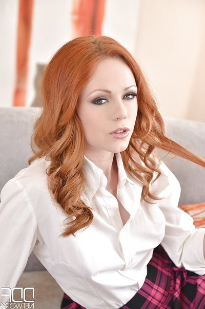 Redheaded schoolgirl Ella Hughes playing with dick in high heels and knee socks
