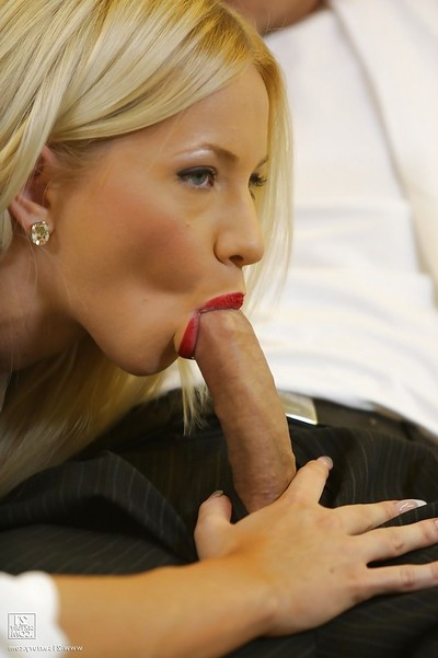 Charming golden-haired Kiara Lord giving a cocksucking and having big number of getting pleasure