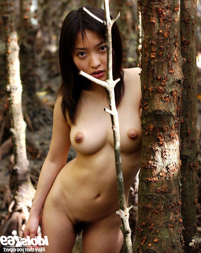 Beautiful Japanese adolescent darling with remarkable jugs posing in nature