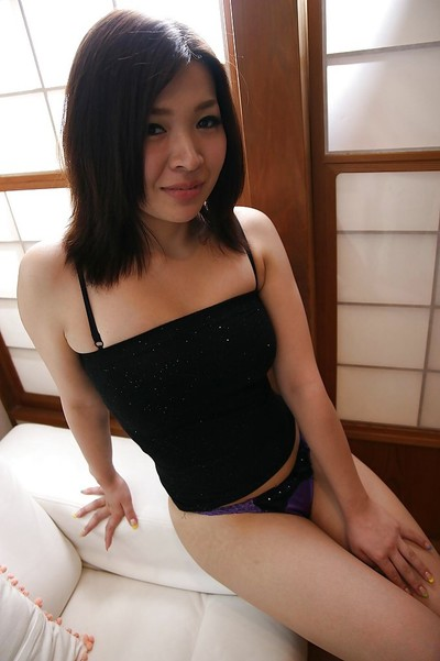 Japanese juvenile with curly snatch Anri Tomita getting as was born and stretching her legs
