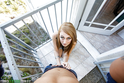 Teen pretty Alexa Grace gives head to a immense rod outdoors