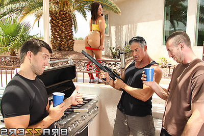 Casey Cumz is a concupiscent juvenile lady with an appetite for real men. During the time that spying on her educator is friends, Jordan and Ramon at their BBQ, this babe purchases it in her head that equally of