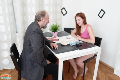 Sveta is a infant and bawdy woman, and is reading a magazine, as this model waits for her mature man. He