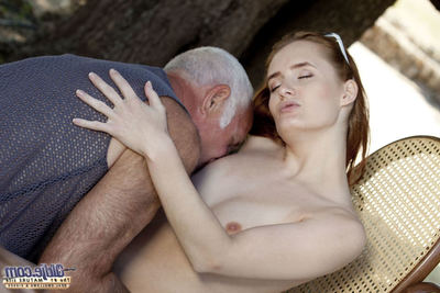 This outstanding red head is so zealous again, that this girl commands our providental Oldje to engulf her pussy. What could this guy do, refuse this hot juvenile lady! The teacher knows that this girl will bring him heavenly moments So this guy licks her