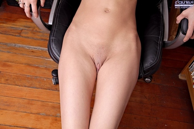 Shy brown hair youthful getting unclothed and exposing her goods in close up