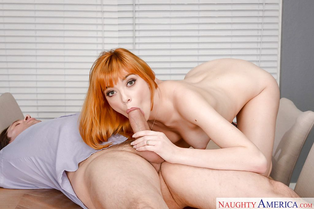 Redheaded Euro infant Anny Day-spring giving bj ahead of spunk fountain in skinhead cunt